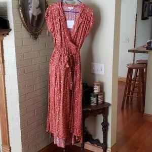 NWT Size Medium long wrap waist dress